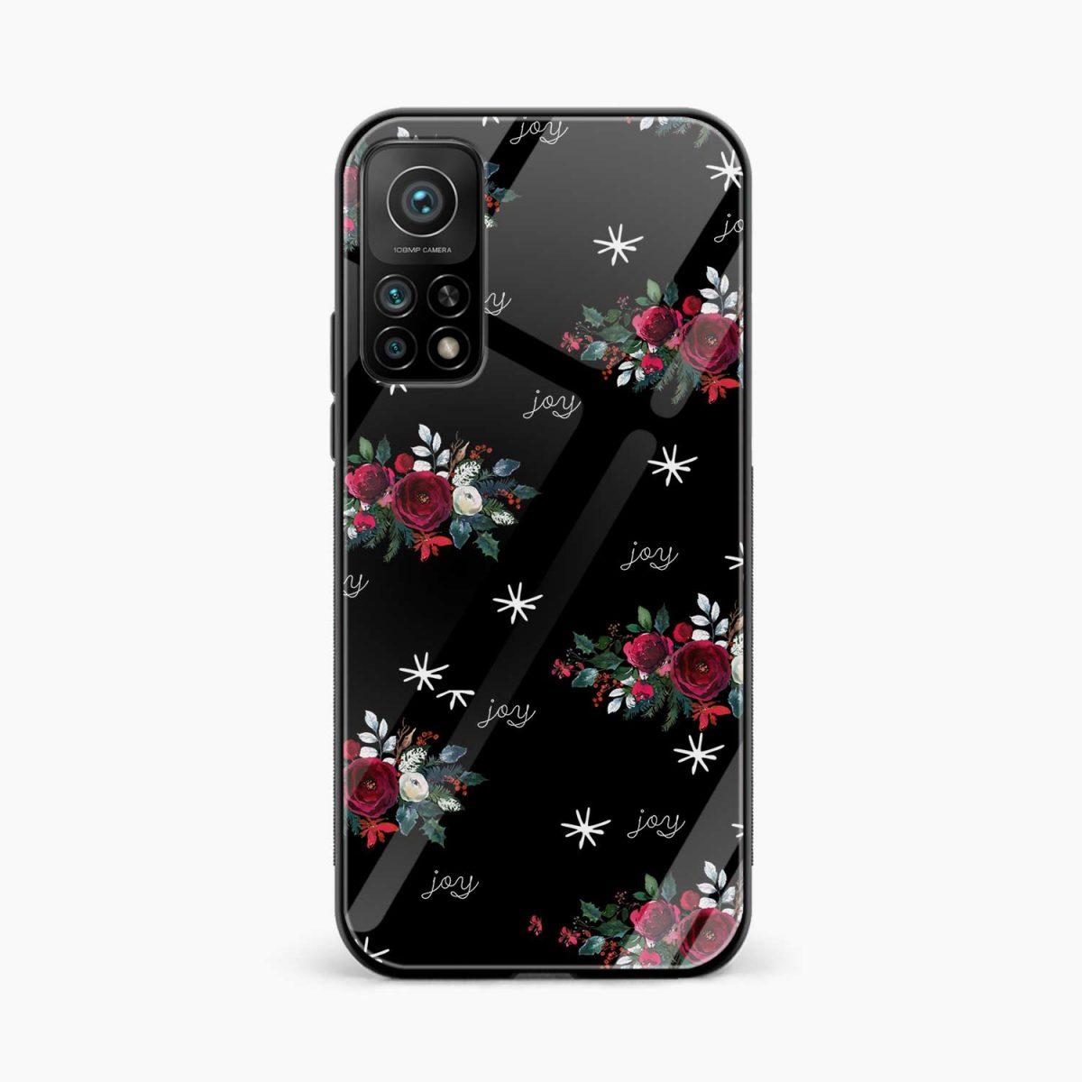 joy floral black colored xiaomi mi 10t pro back cover front view