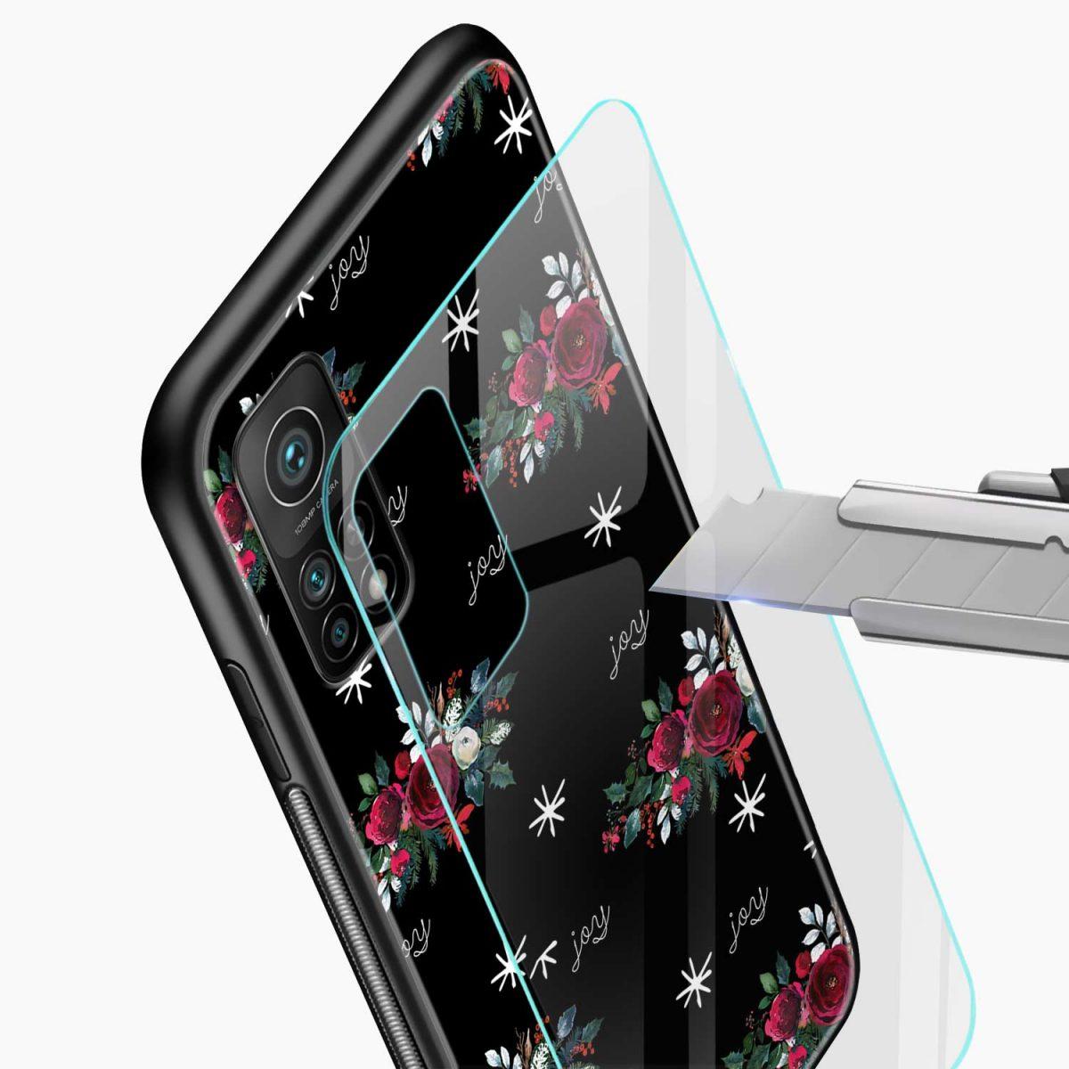joy floral black colored xiaomi mi 10t pro back cover glass view