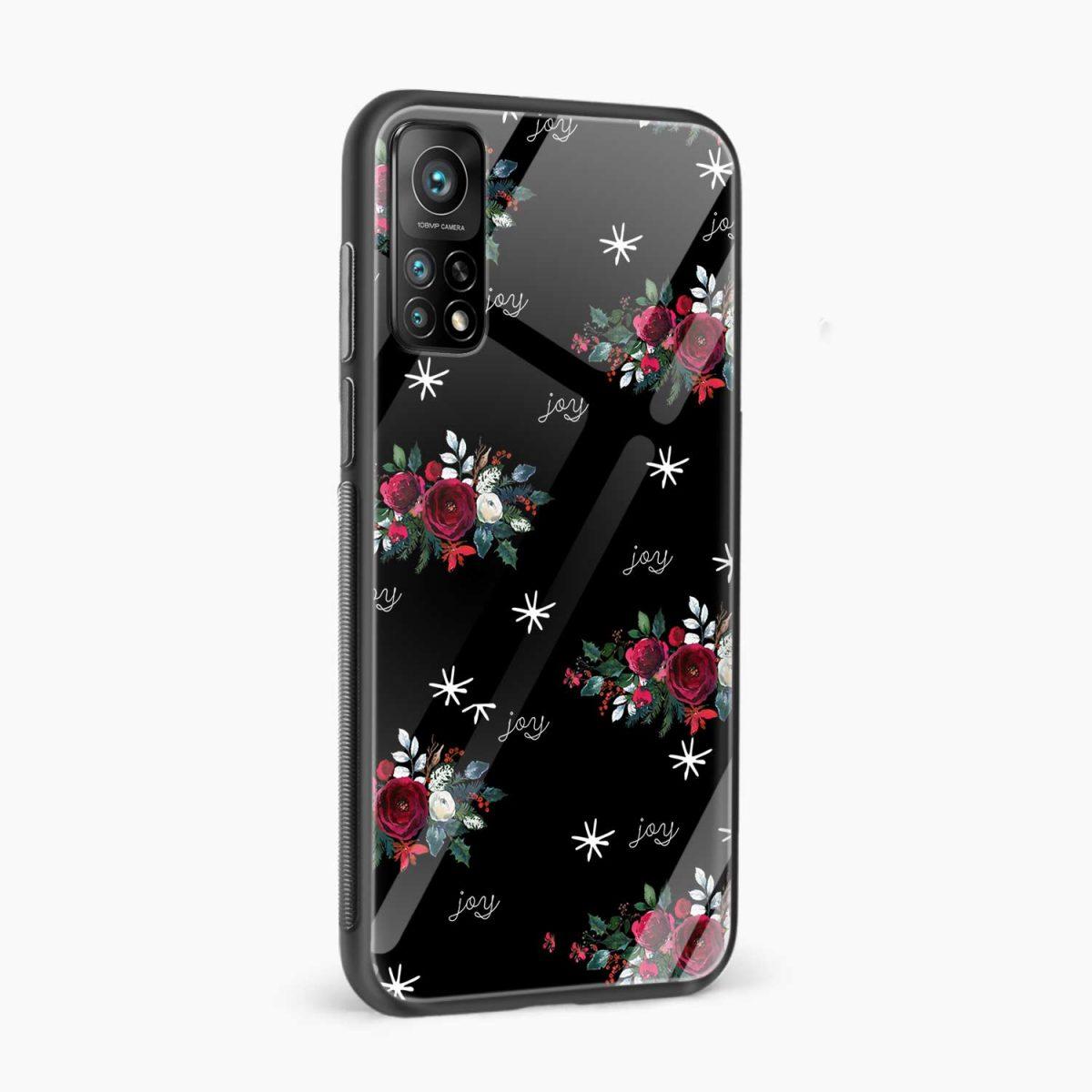 joy floral black colored xiaomi mi 10t pro back cover side view