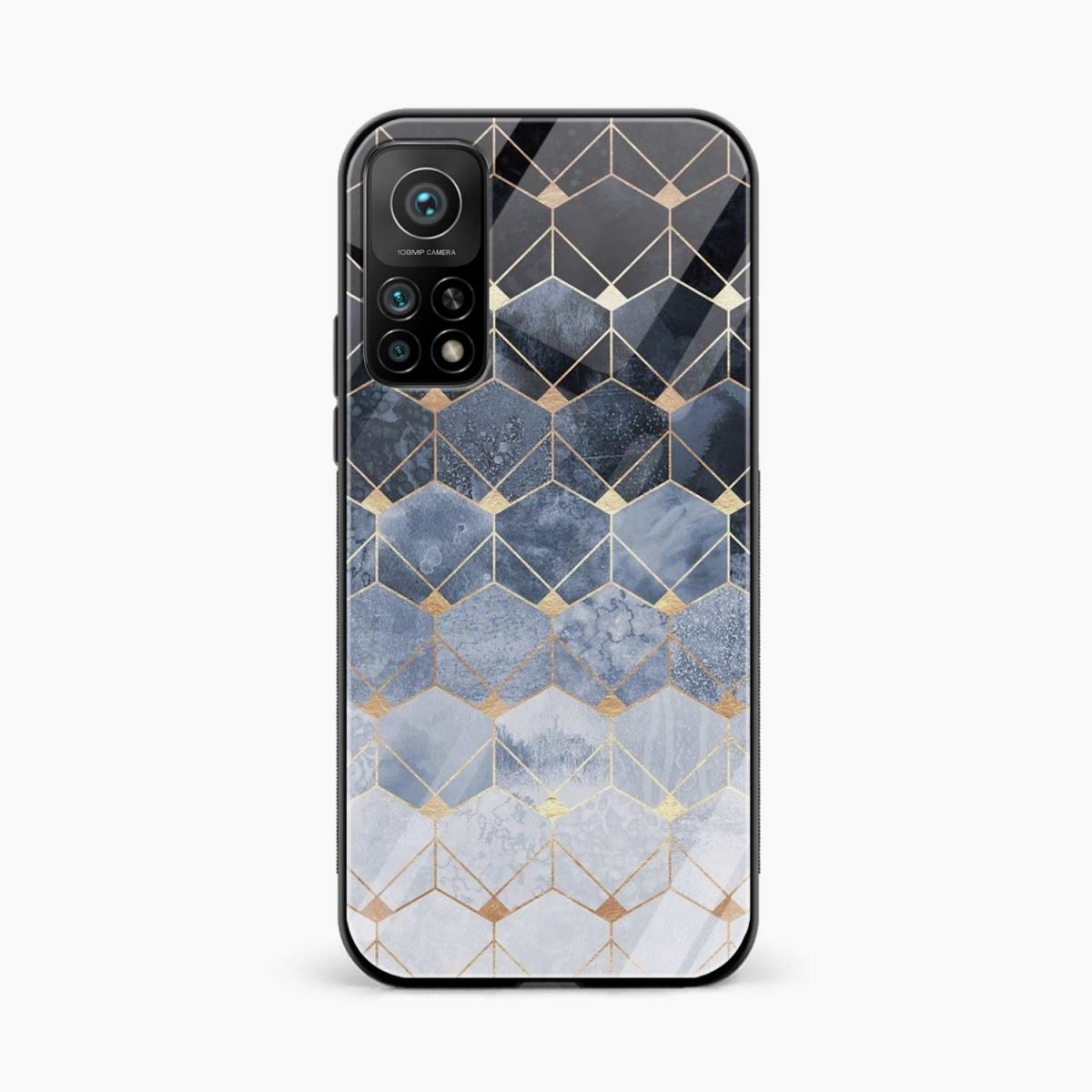 golden hexagonal marble xiaomi mi 10t pro back cover front view