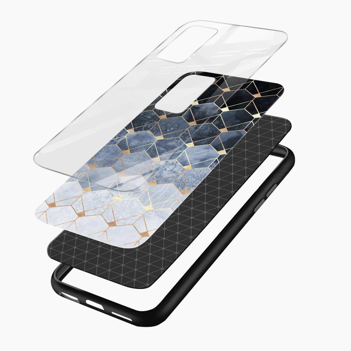 golden hexagonal marble xiaomi mi 10t pro back cover layers view