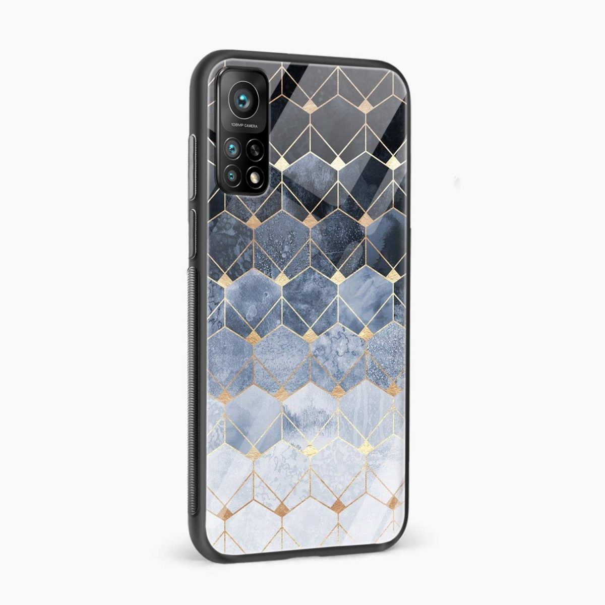 golden hexagonal marble xiaomi mi 10t pro back cover side view