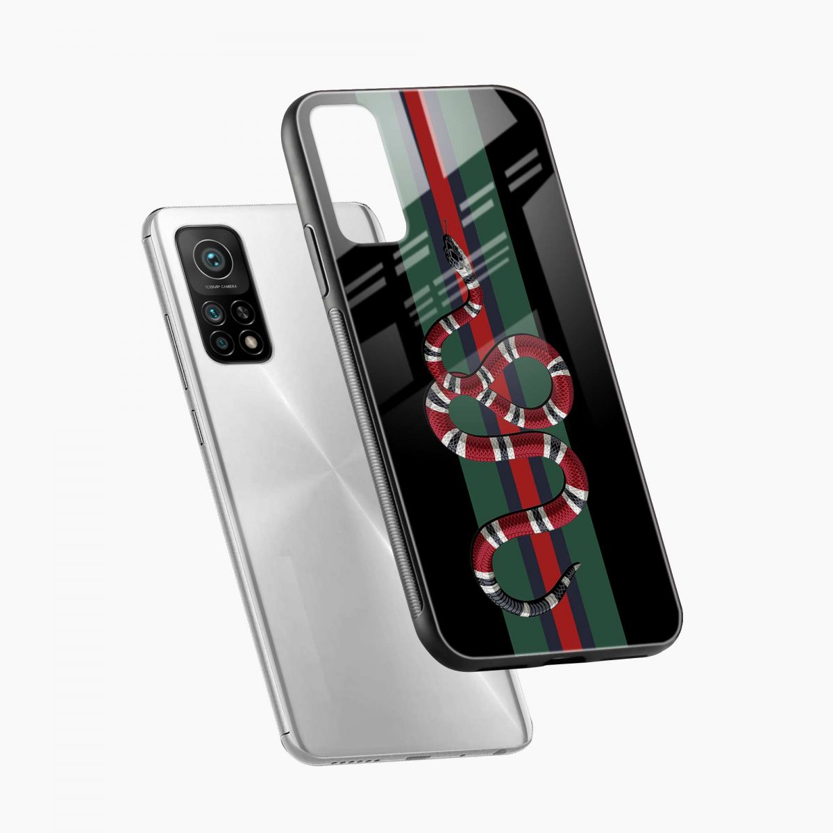 gucci snake with strips xiaomi mi 10t pro back cover diagonal view
