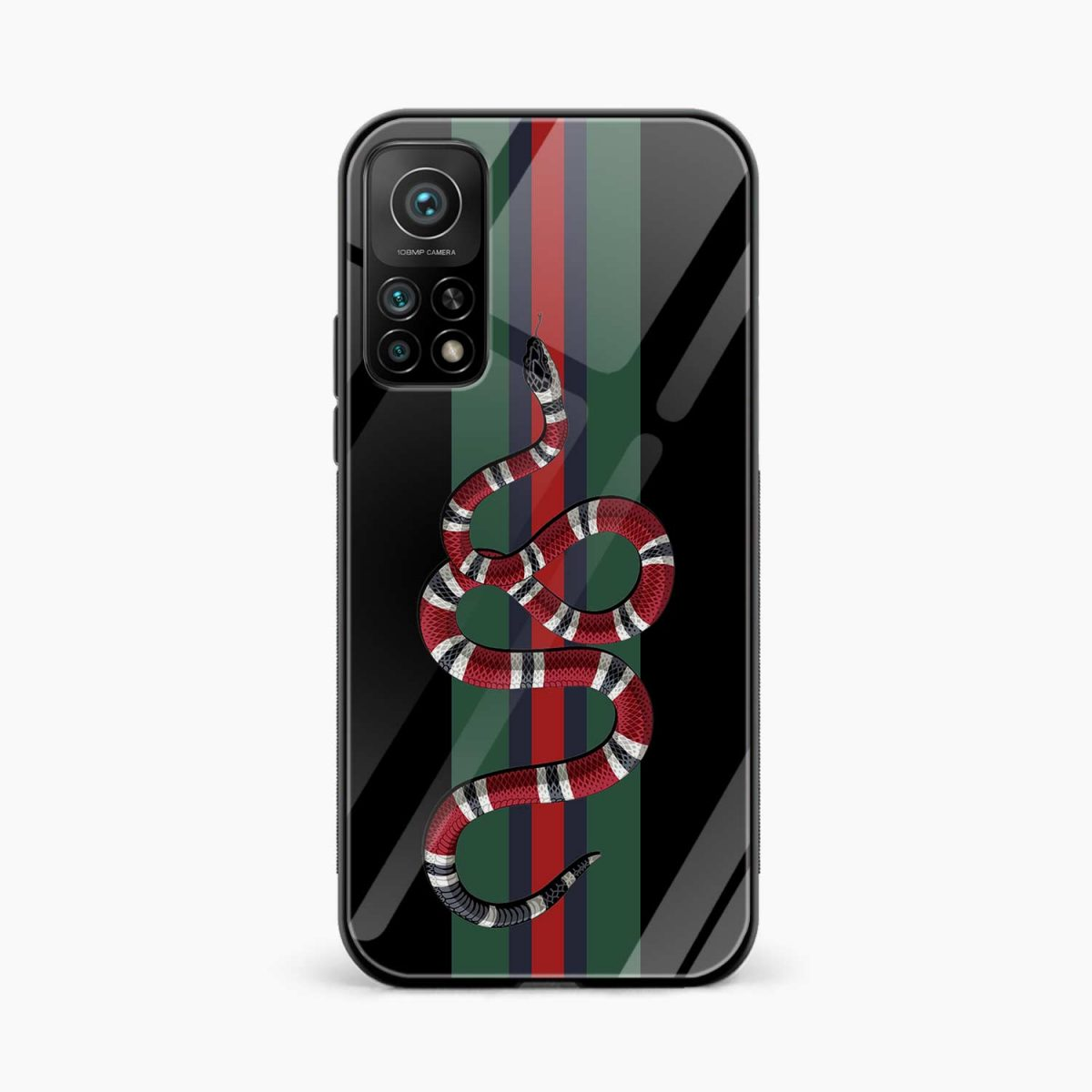 gucci snake with strips xiaomi mi 10t pro back cover front view