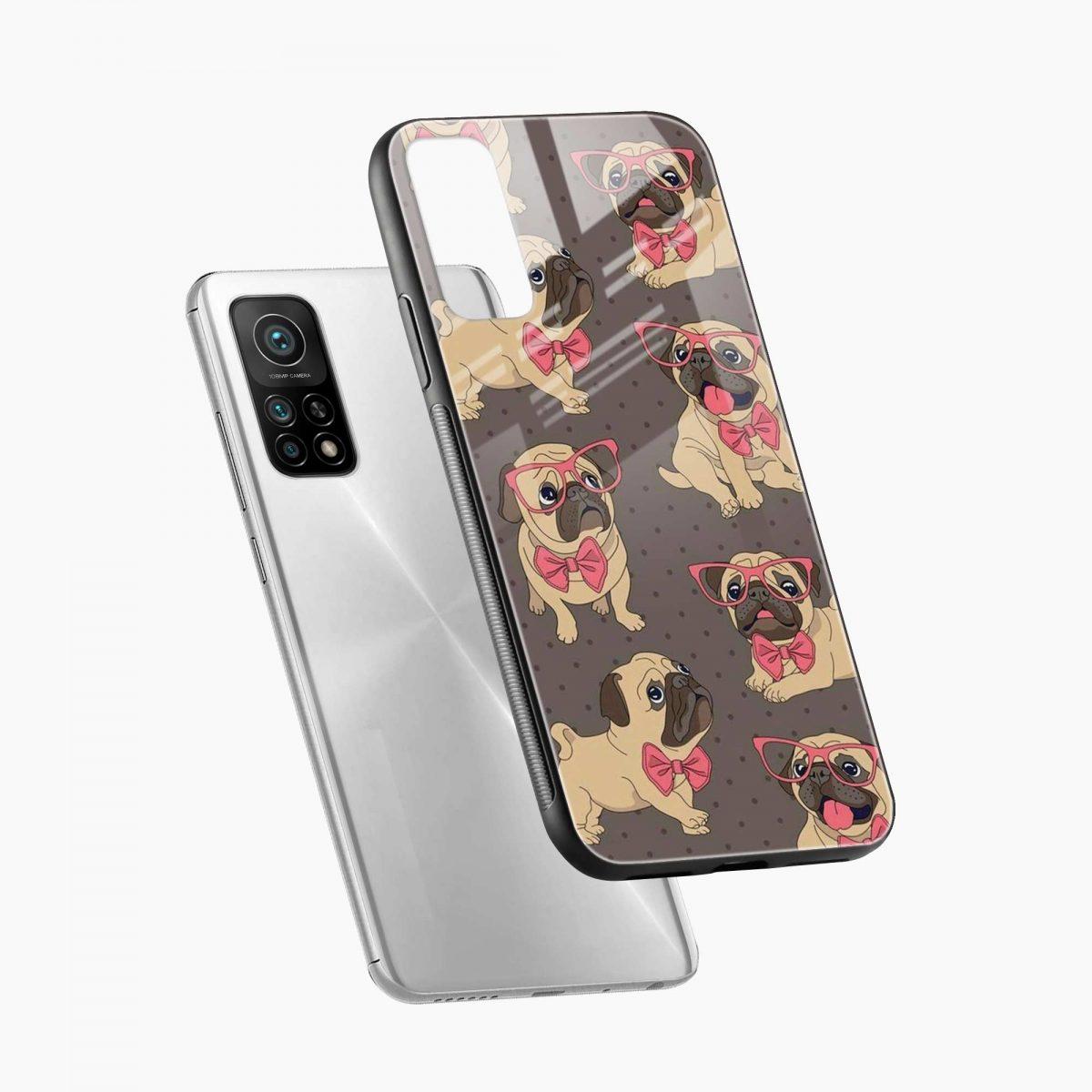 pug pattern xiaomi mi 10t pro back cover diagonal view