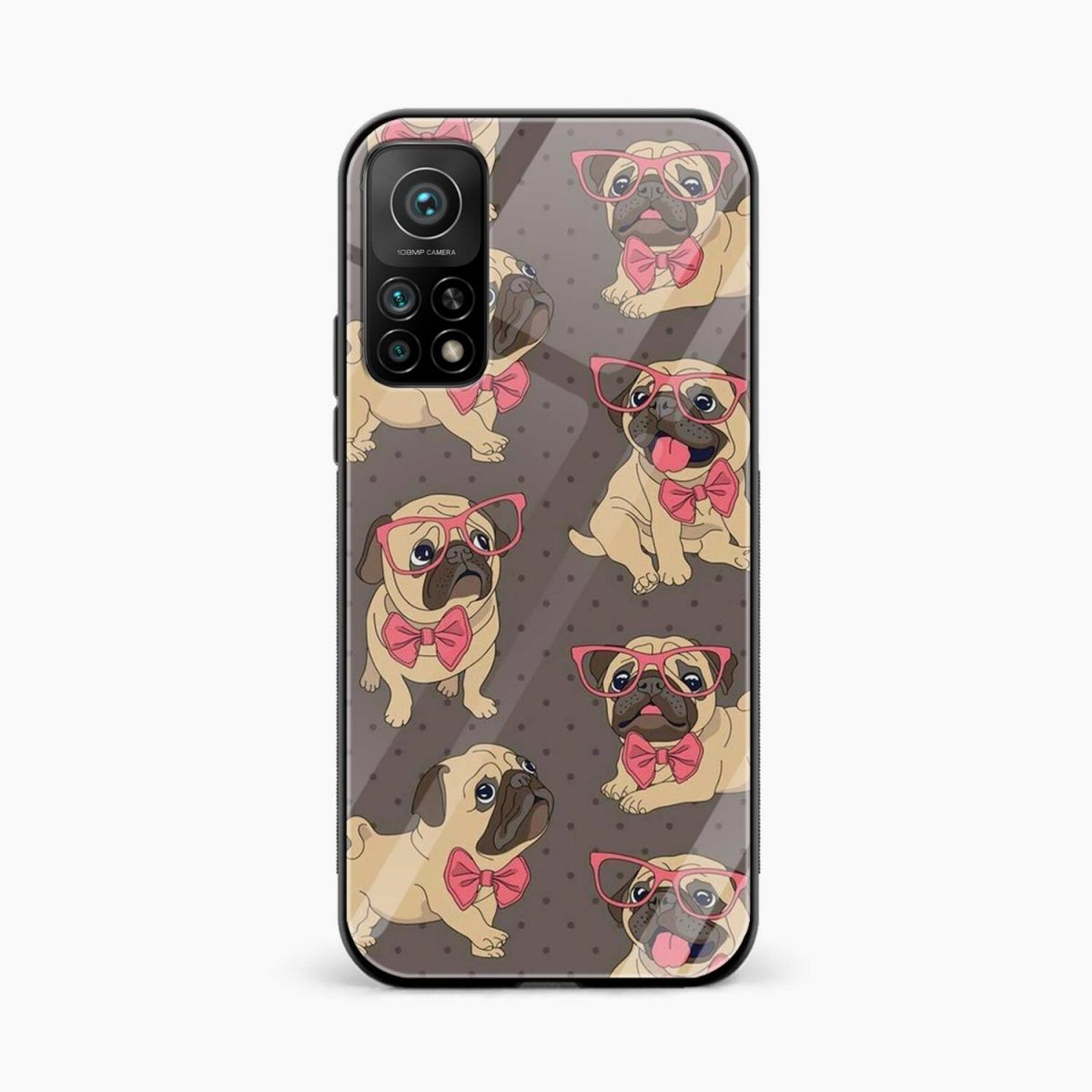 pug pattern xiaomi mi 10t pro back cover front view
