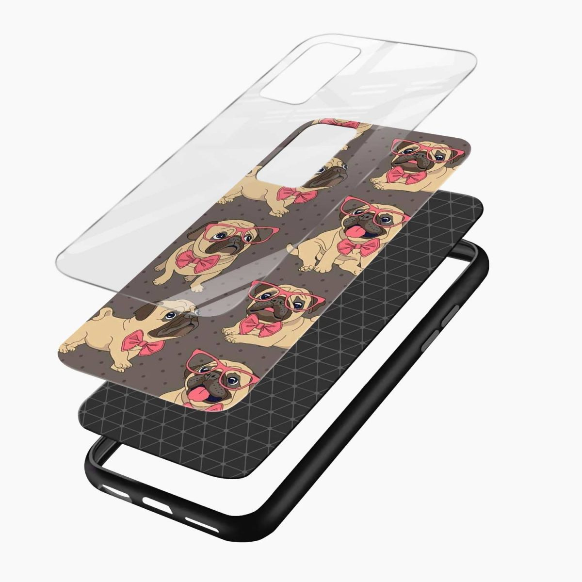 pug pattern xiaomi mi 10t pro back cover layers view