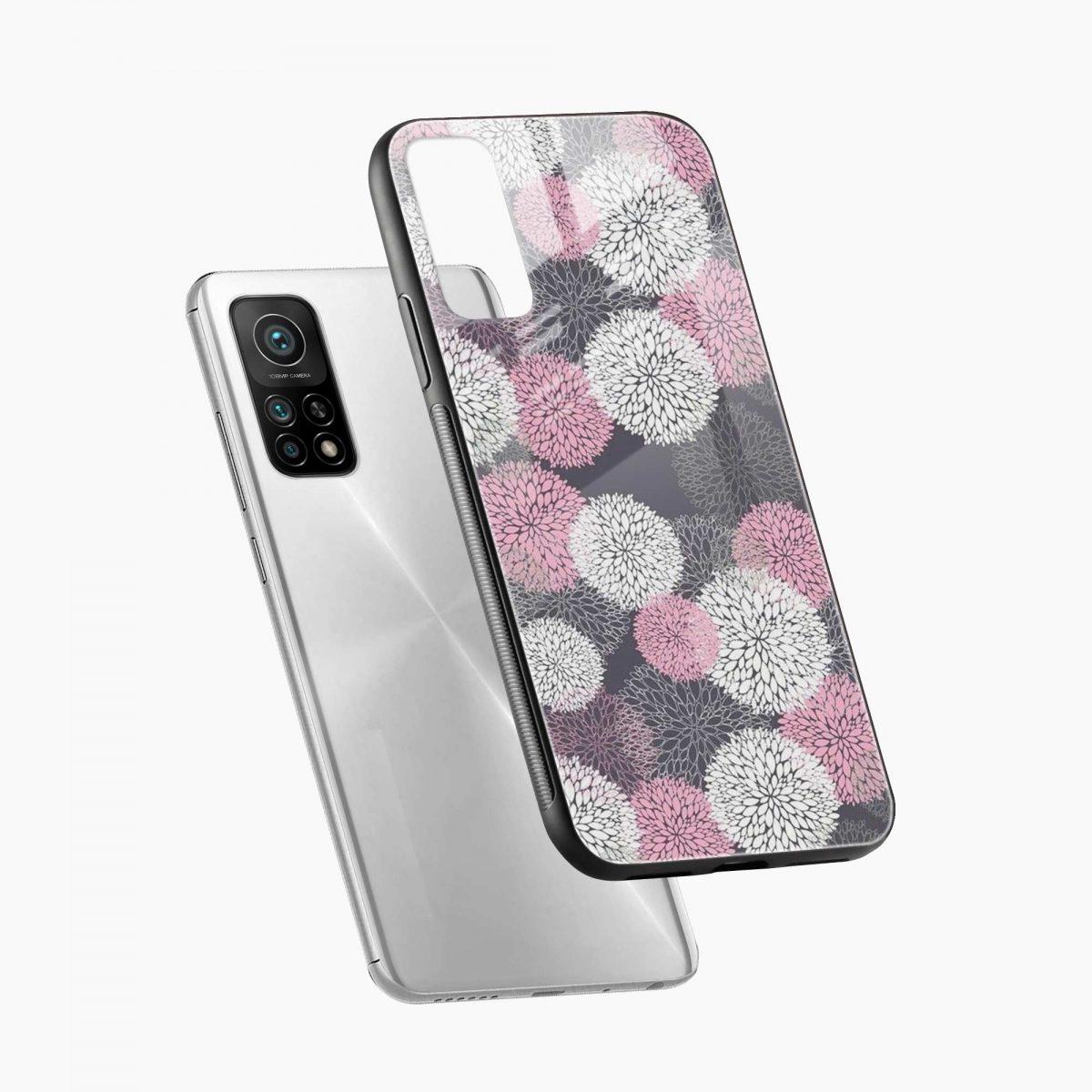 pink white flower pattern xiaomi mi 10t pro back cover diagonal view