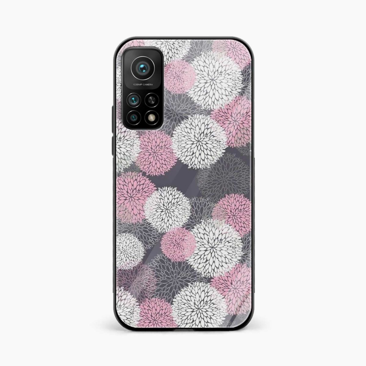 pink white flower pattern xiaomi mi 10t pro back cover front view