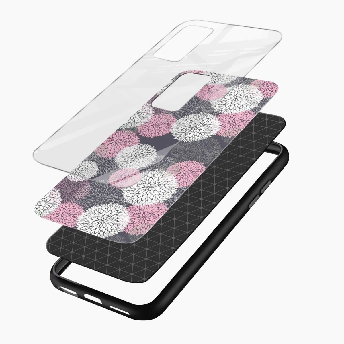 pink white flower pattern xiaomi mi 10t pro back cover layers view