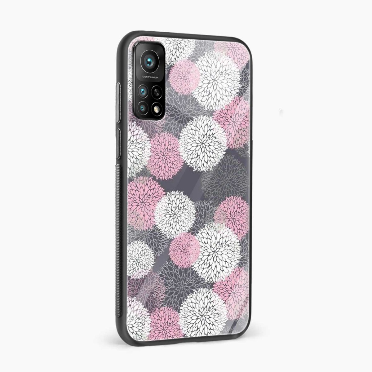 pink white flower pattern xiaomi mi 10t pro back cover side view