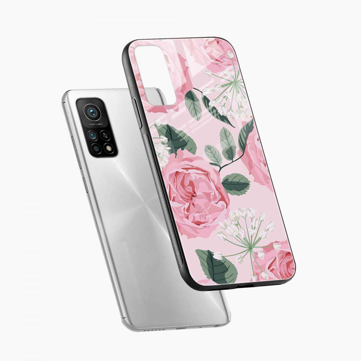 pink floral girlish xiaomi mi 10t pro back cover diagonal view