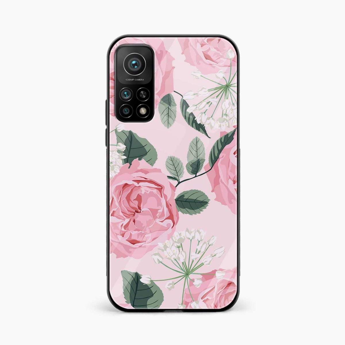 pink floral girlish xiaomi mi 10t pro back cover front view
