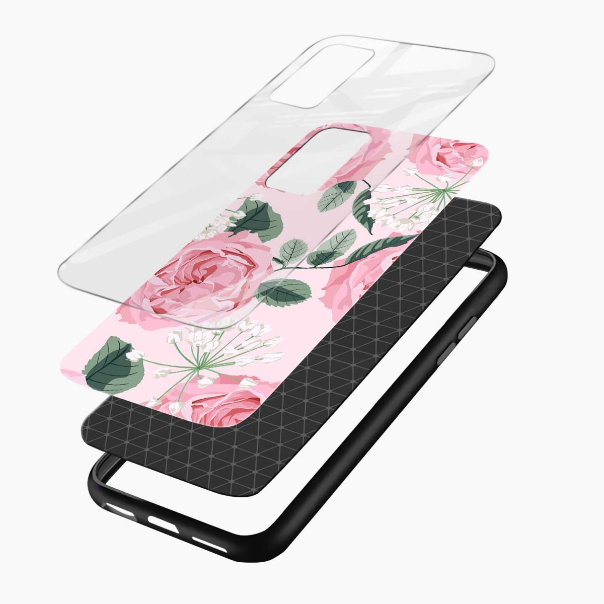 pink floral girlish xiaomi mi 10t pro back cover layers view