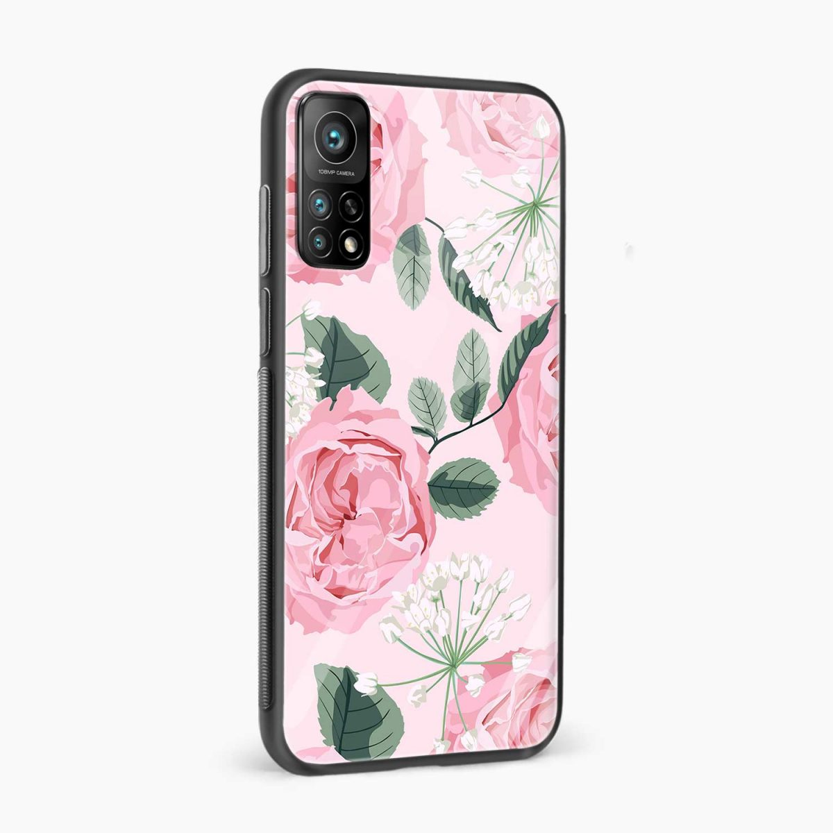 pink floral girlish xiaomi mi 10t pro back cover side view