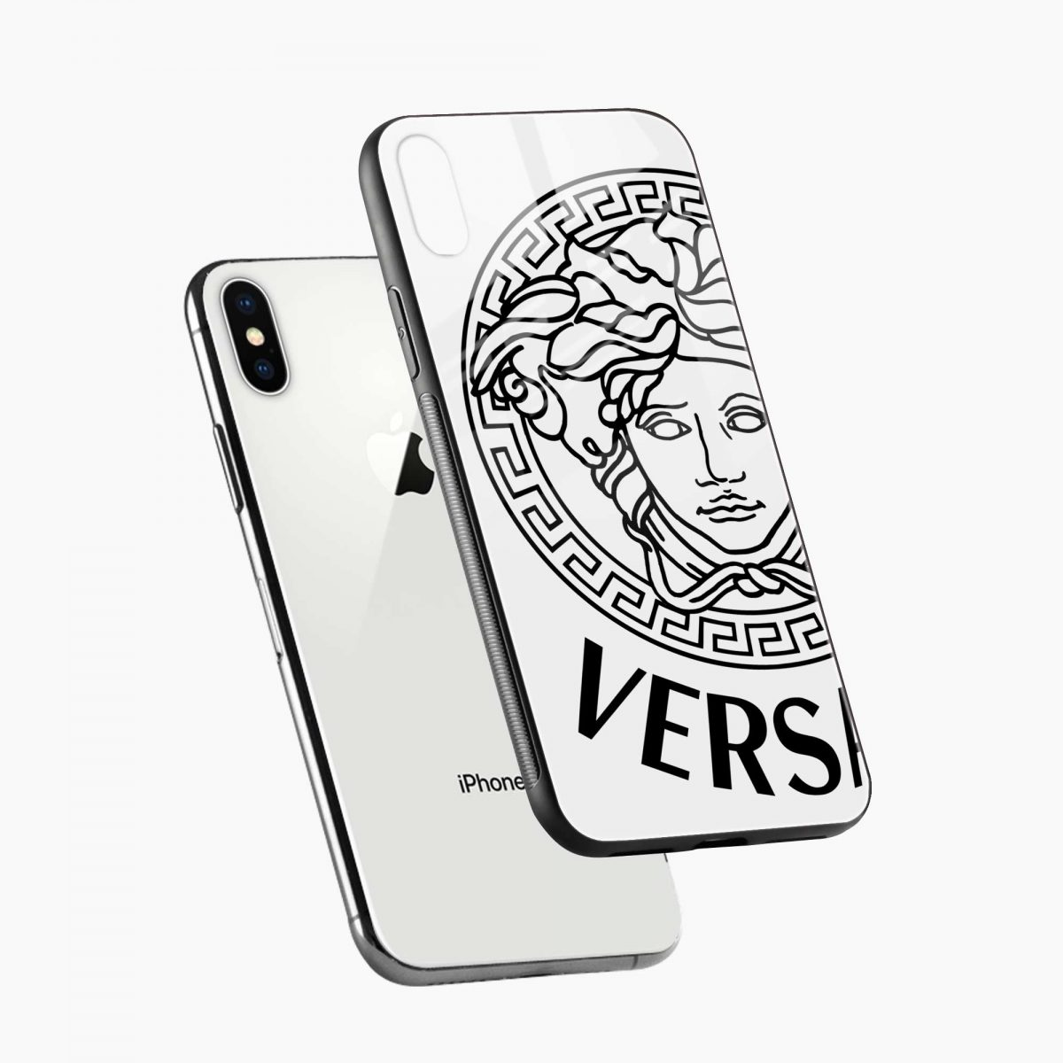 versace black white diagonal view apple iphone x xs max back cover