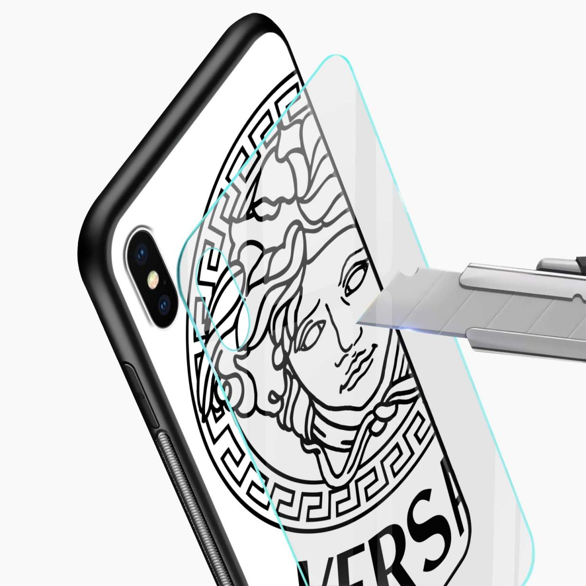versace black white glass view apple iphone x xs max back cover