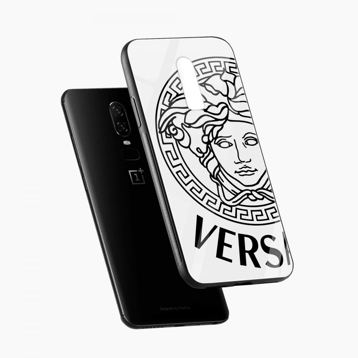 versace black white diagonal view oneplus 6 back cover