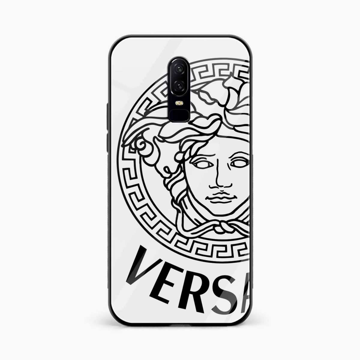 versace black white front view oneplus 6 back cover