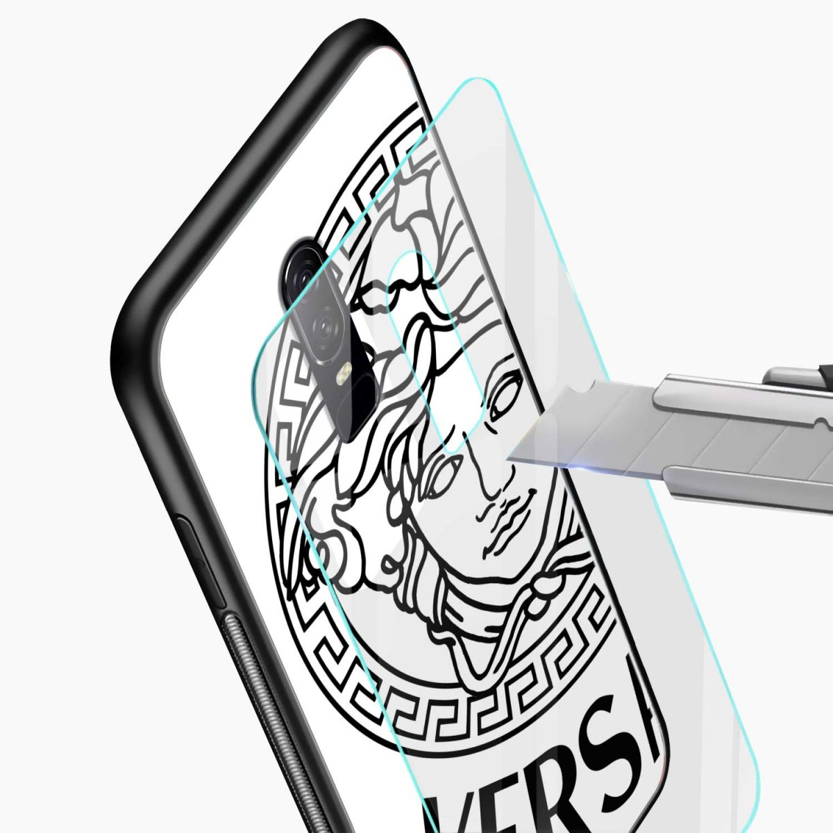versace black white glass view oneplus 6 back cover