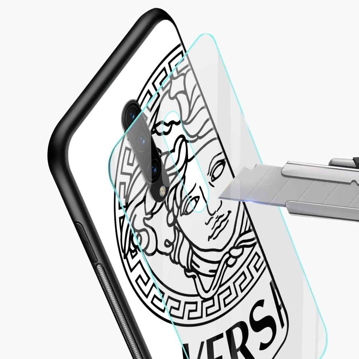 versace black white glass view oneplus 7 pro back cover