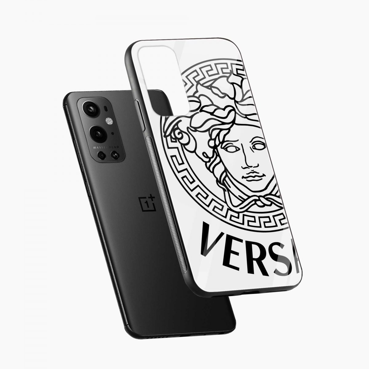 versace black white diagonal view oneplus 9 pro back cover
