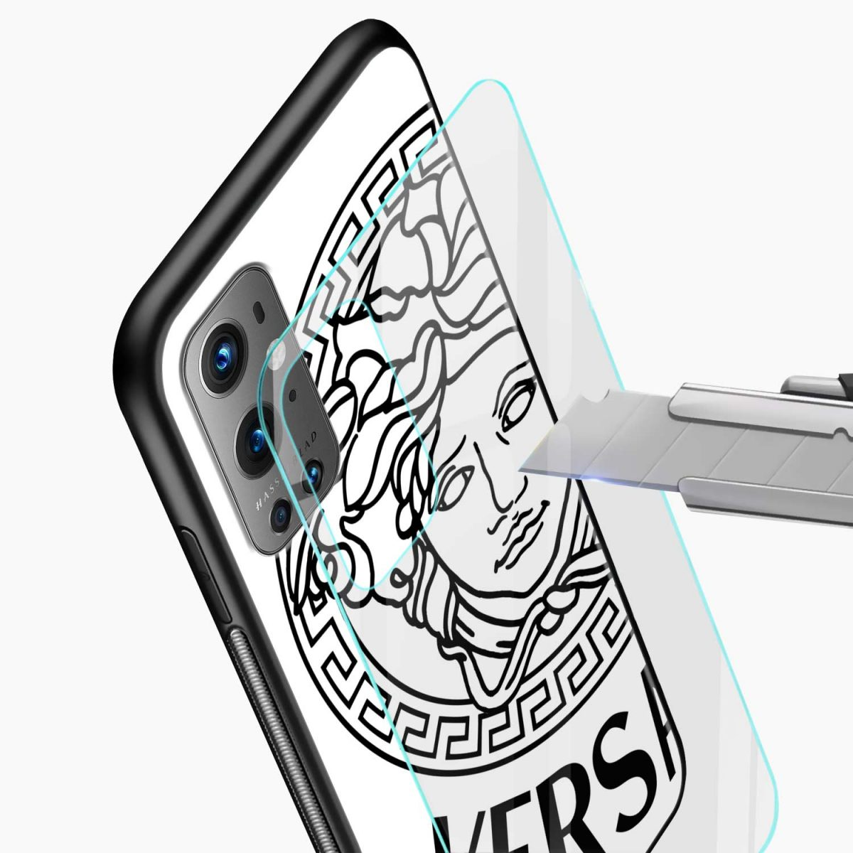 versace black white glass view oneplus 9 pro back cover