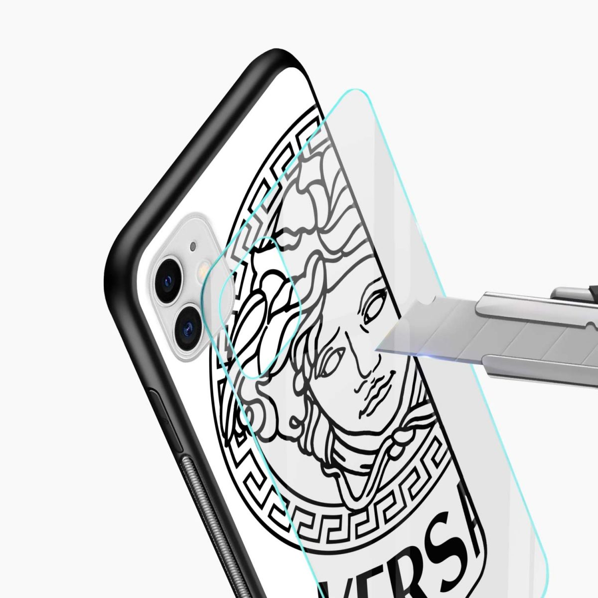versace black white iphone back cover glass view