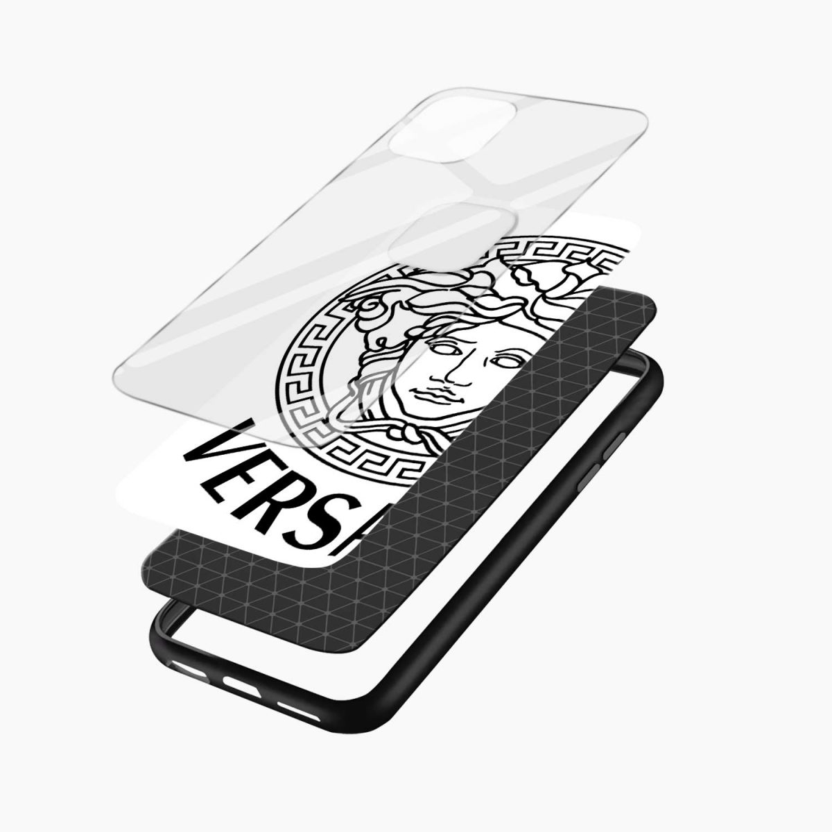 versace black white iphone back cover layers view 1