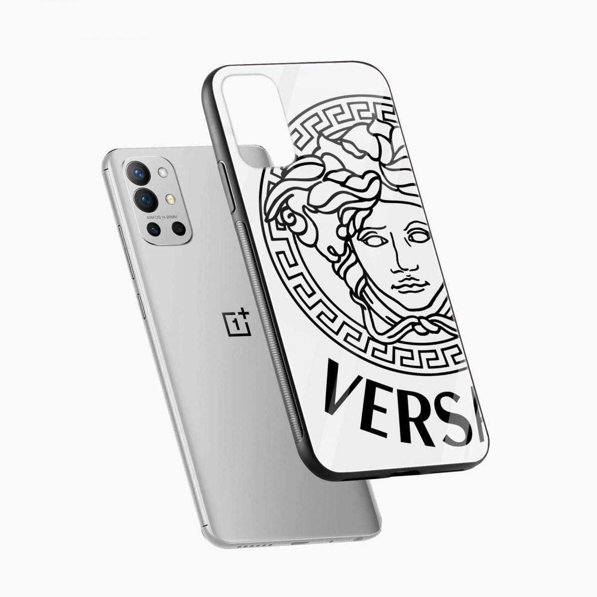 versace black white diagonal view oneplus 9r back cover