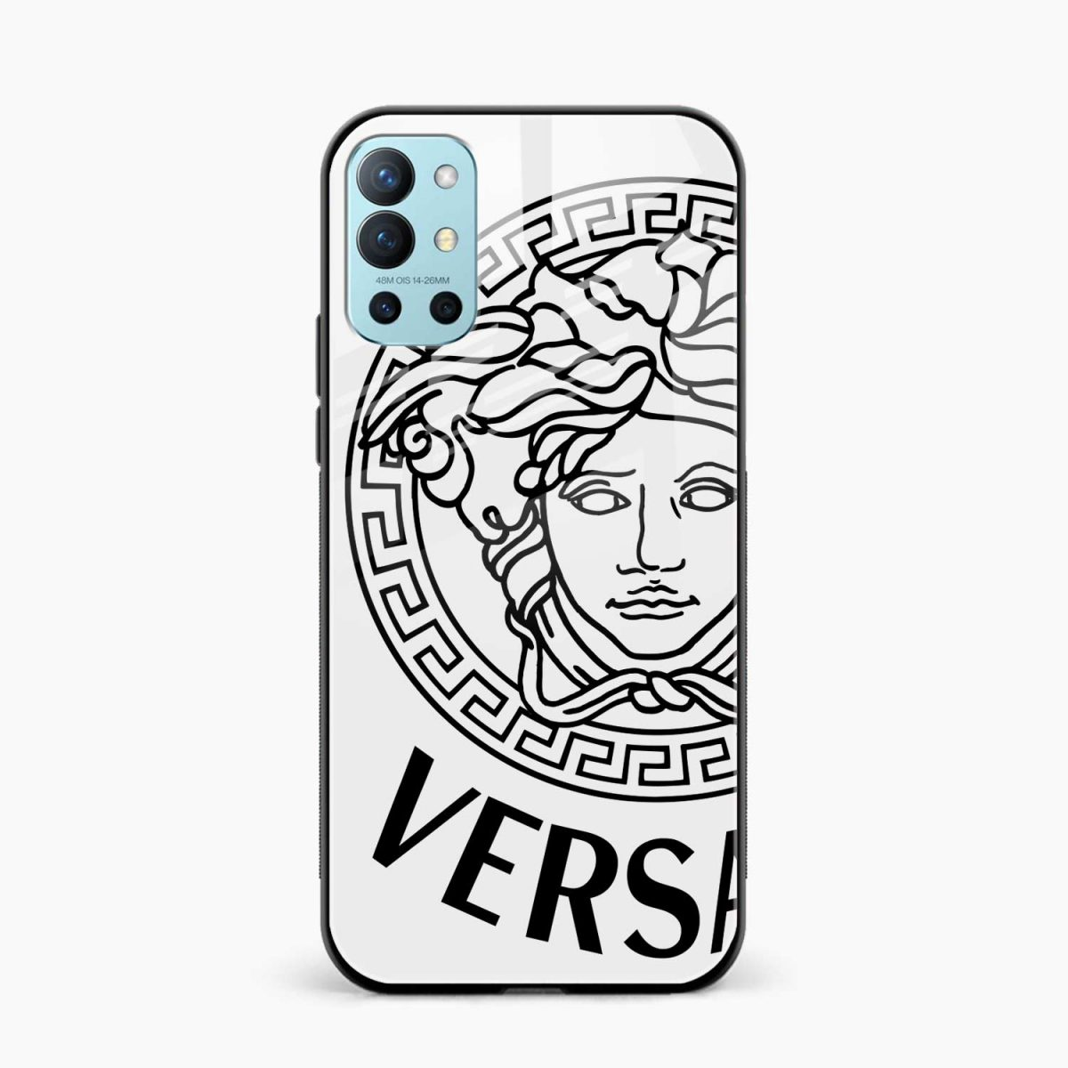 versace black white front view oneplus 9r back cover