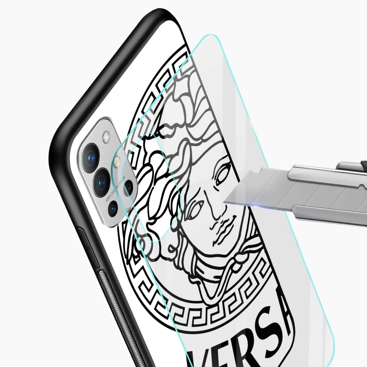 versace black white glass view oneplus 9r back cover