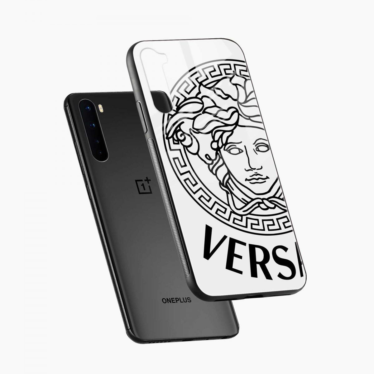 versace black white diagonal view oneplus nord back cover