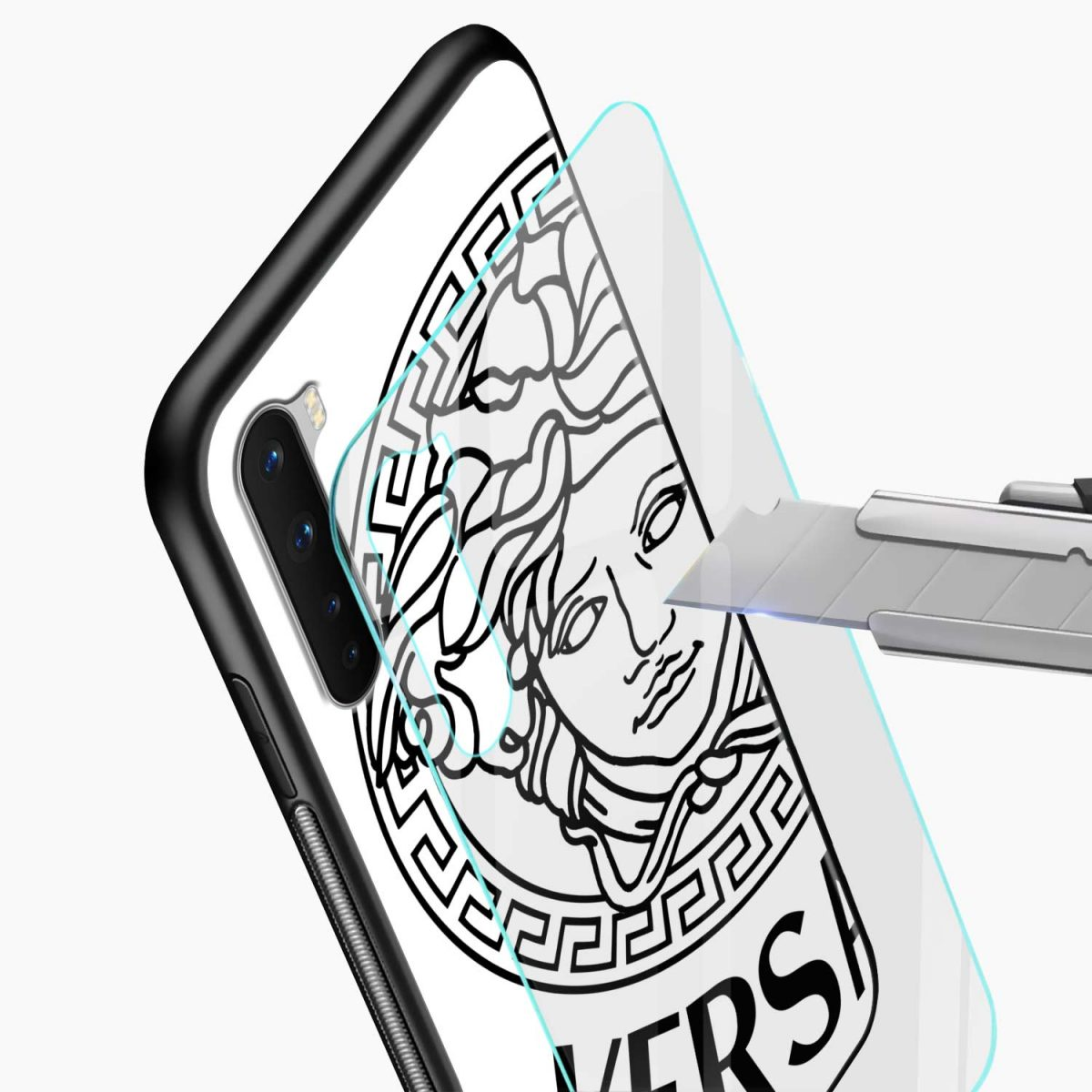 versace black white glass view oneplus nord back cover