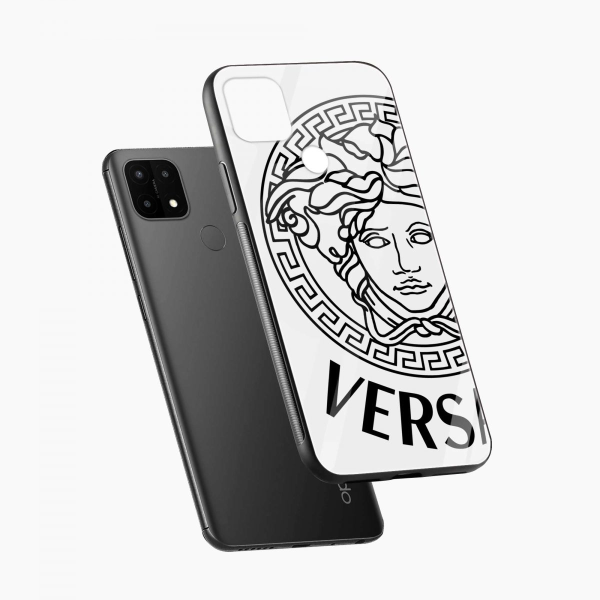 versace black white diagonal view oppo a15 back cover