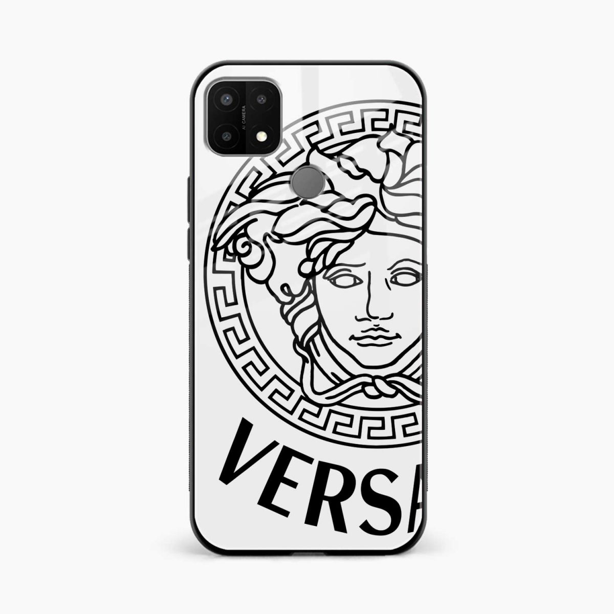 versace black white front view oppo a15 back cover
