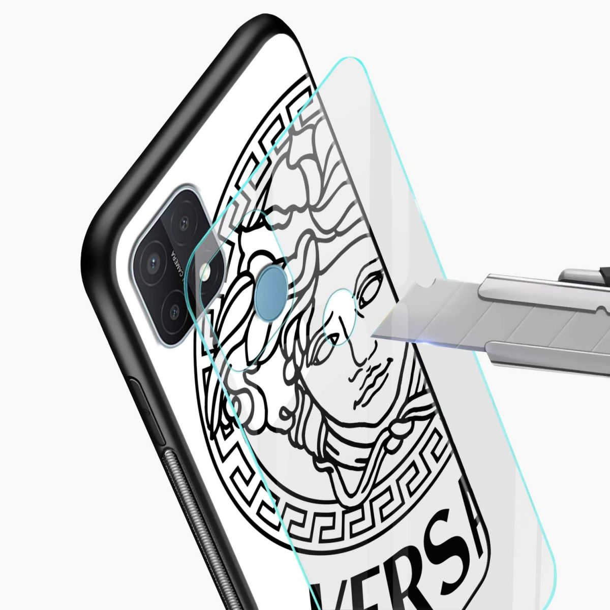 versace black white glass view oppo a15 back cover