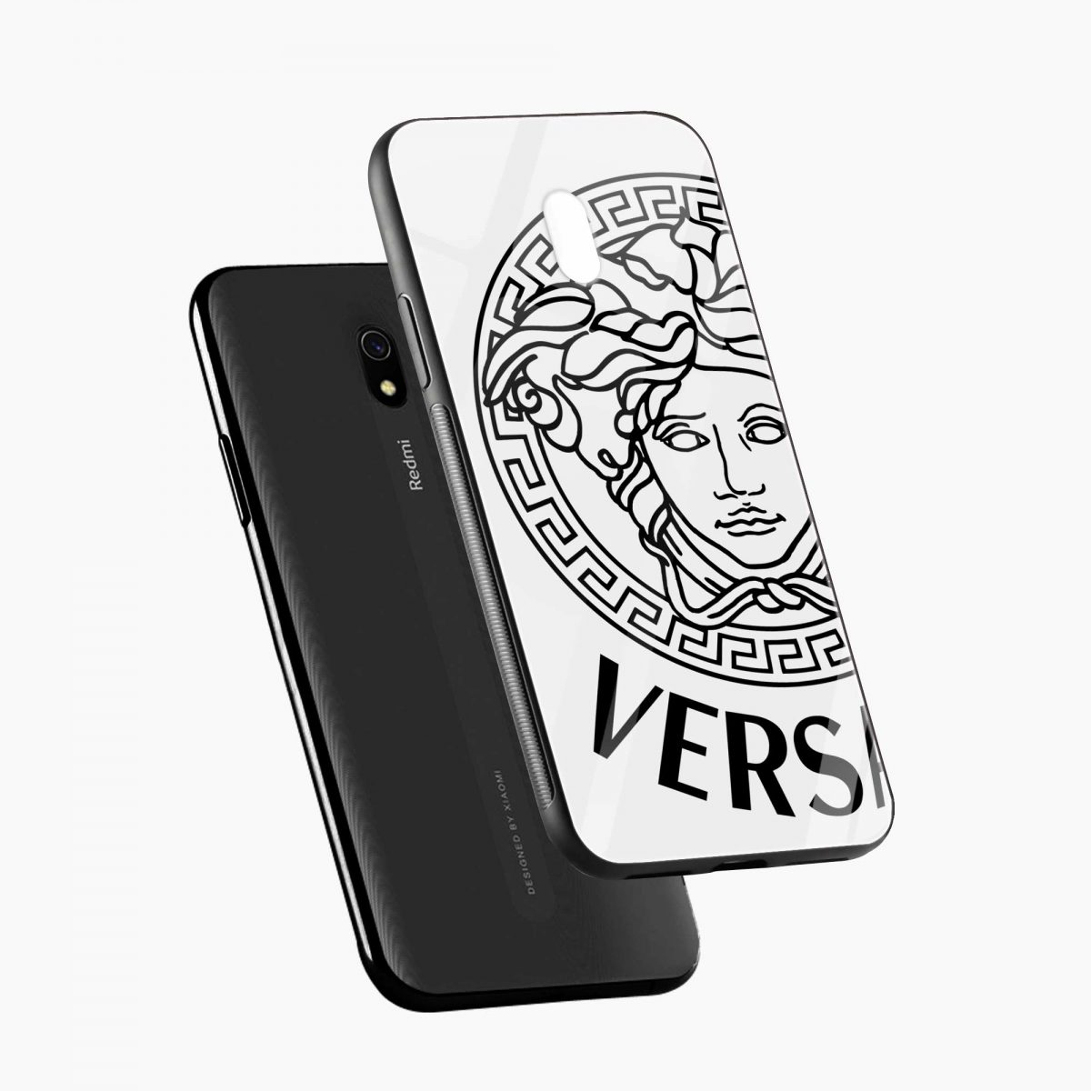 versace black white diagonal view redmi 8a back cover