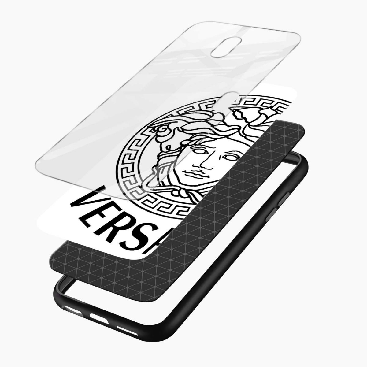 versace black white layers view redmi 8a back cover