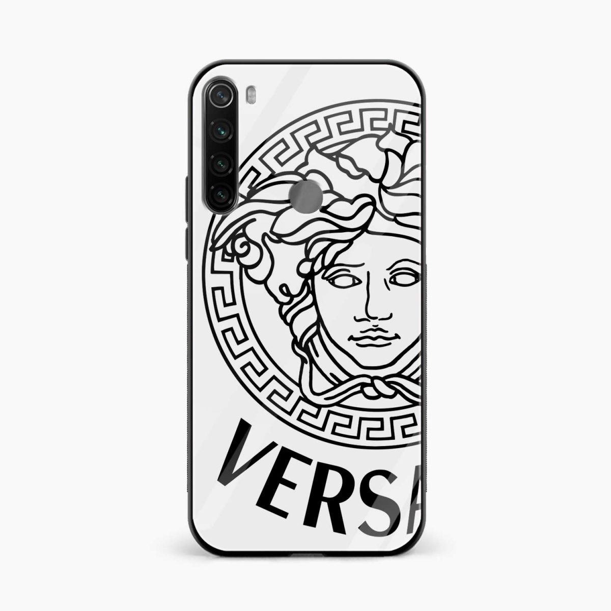versace black white front view redmi note 8 back cover