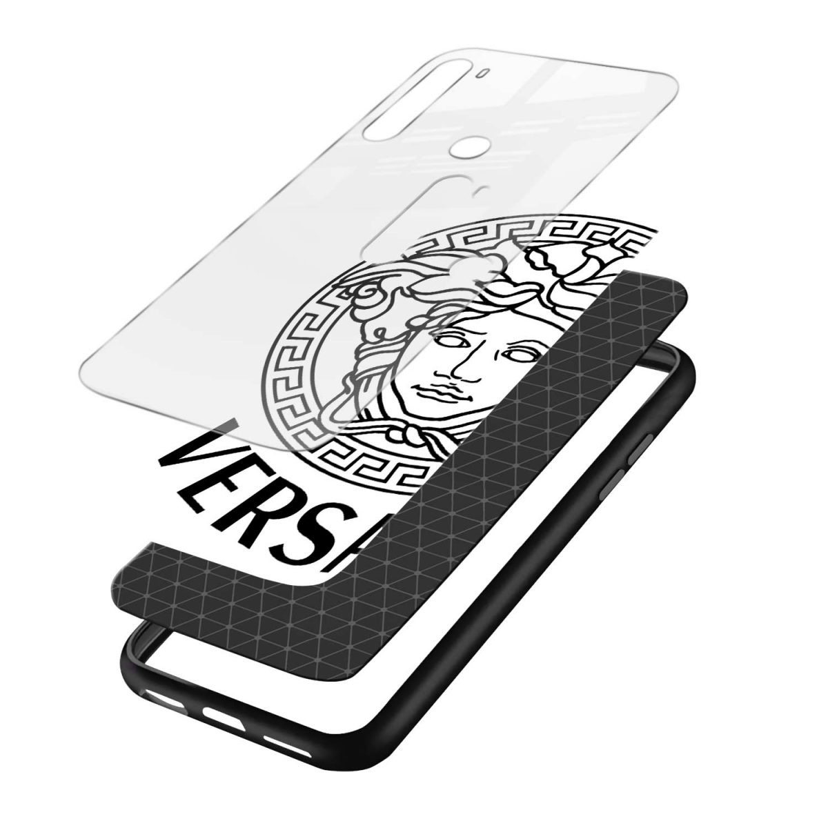 versace black white layers view redmi note 8 back cover