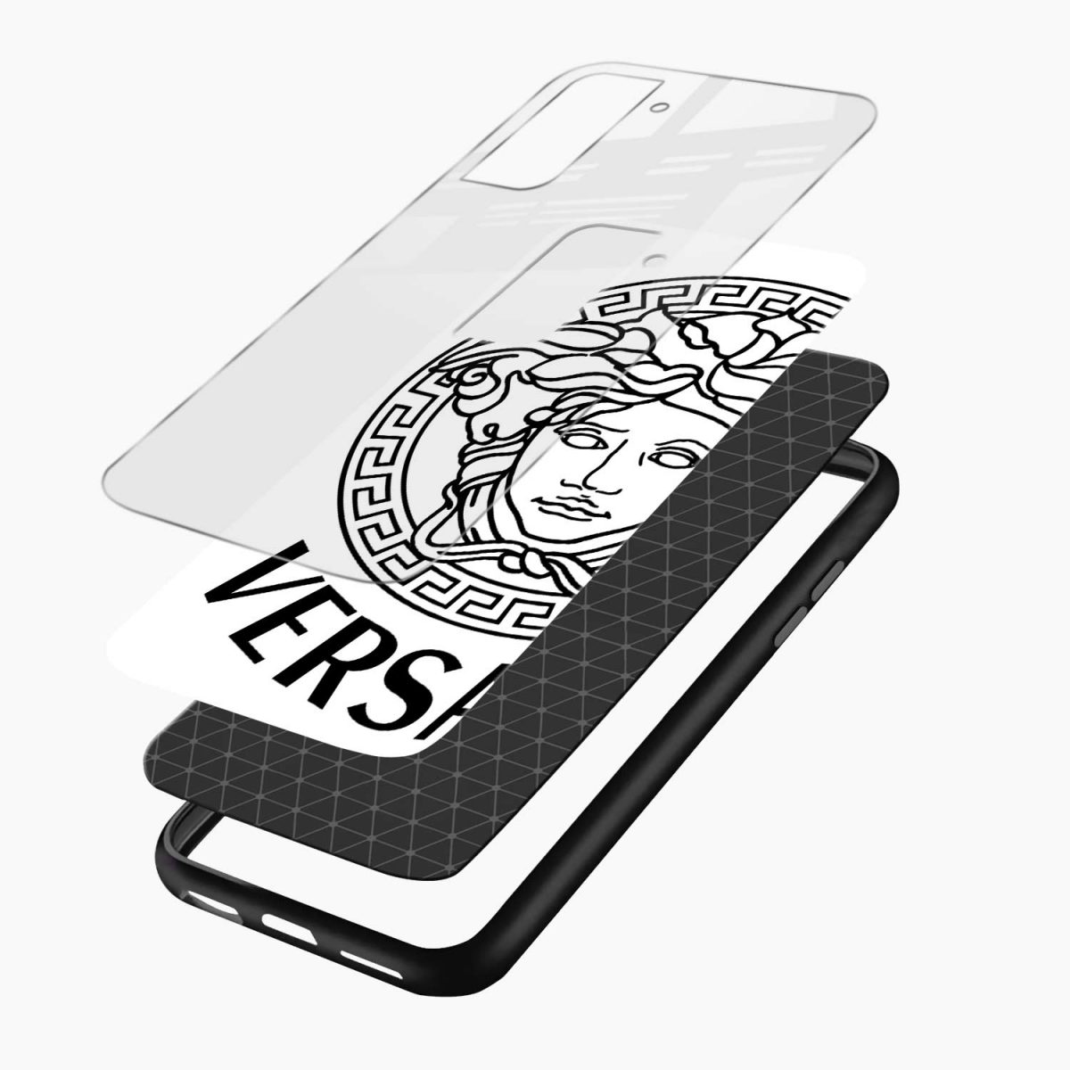 versace black white layers view samsung s21 plug back cover