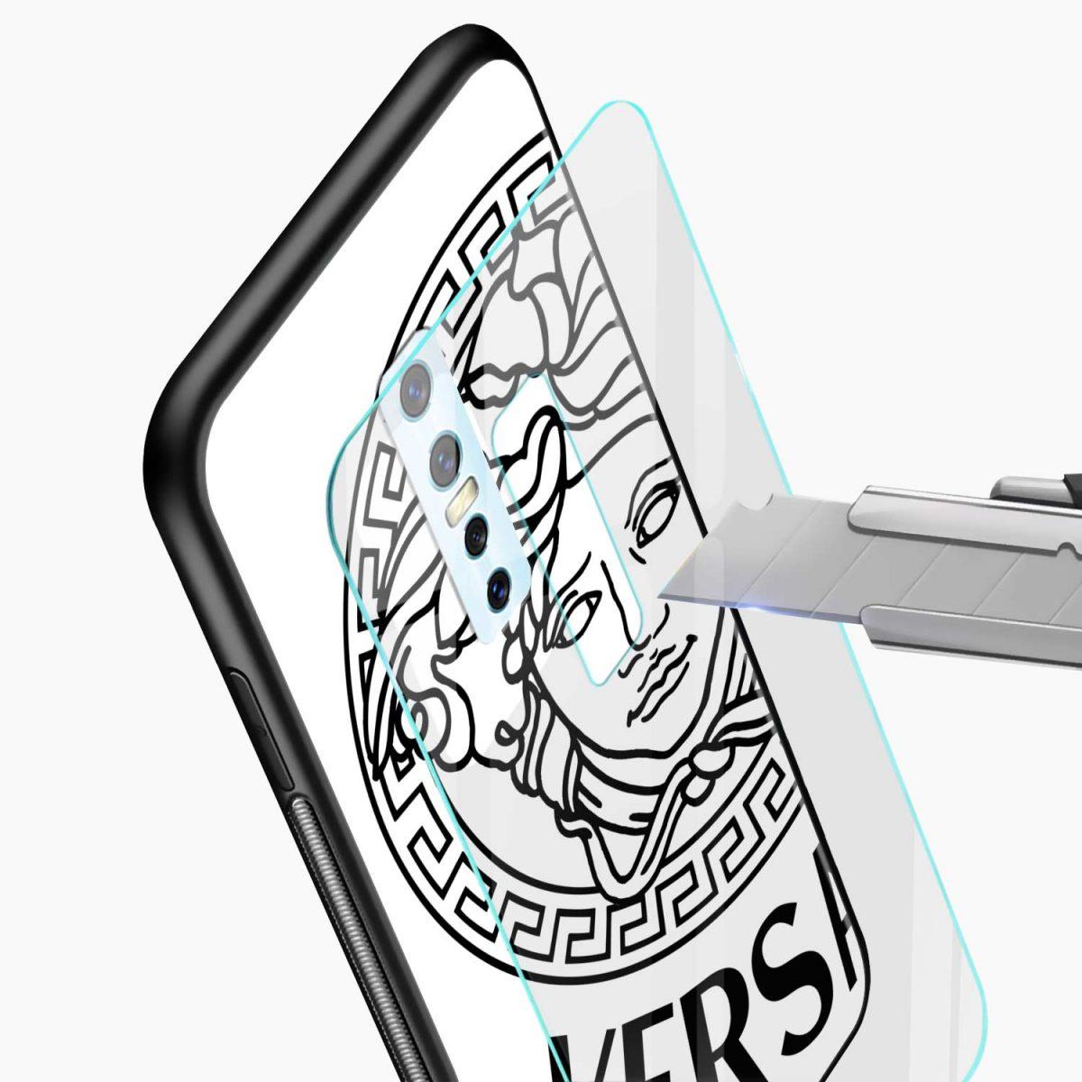 versace black white glass view vivo v17 plug back cover
