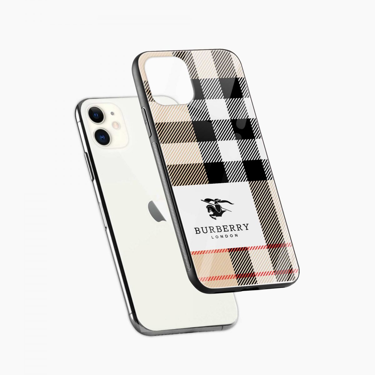 bulberry cross lines pattern iphone back cover diagonal view