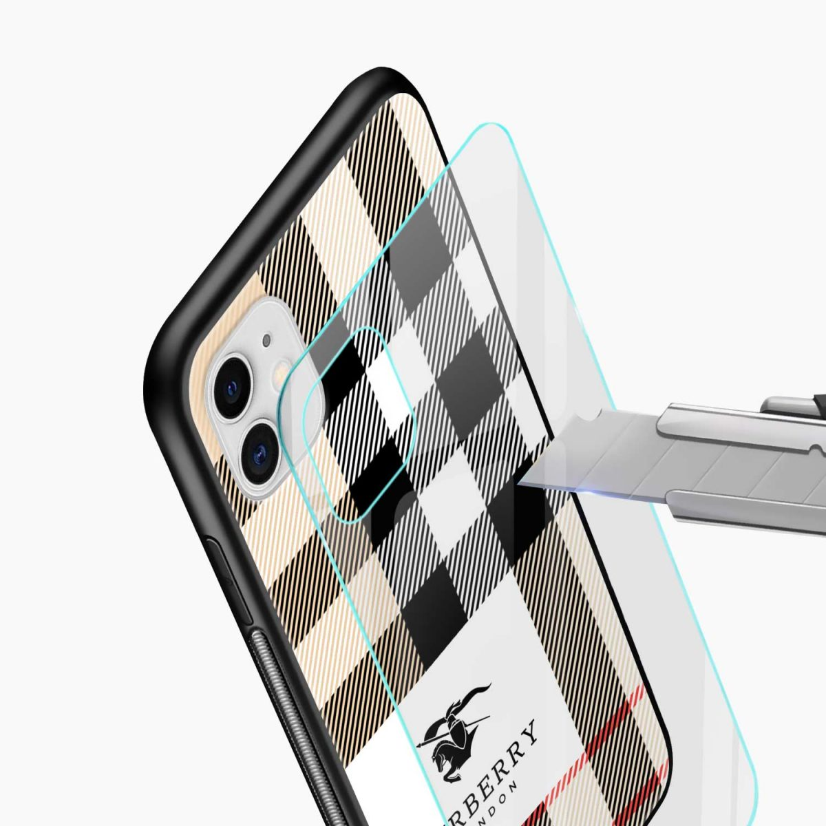 bulberry cross lines pattern iphone back cover glass view