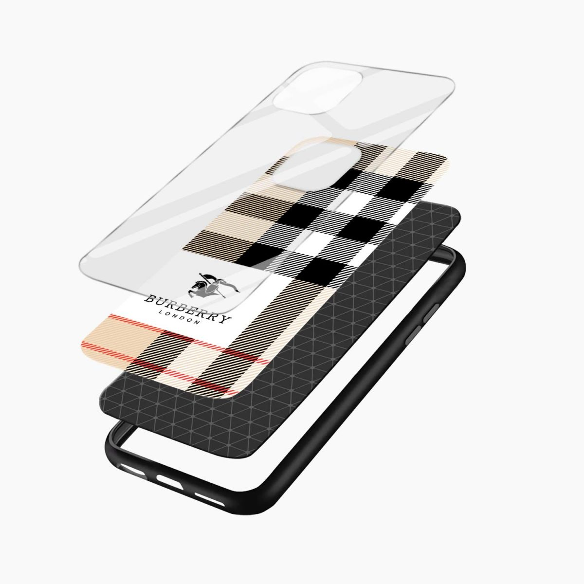 bulberry cross lines pattern iphone back cover layers view