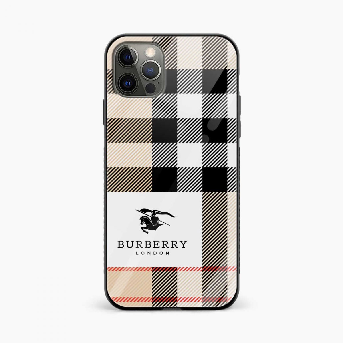 bulberry cross lines pattern iphone pro back cover front view