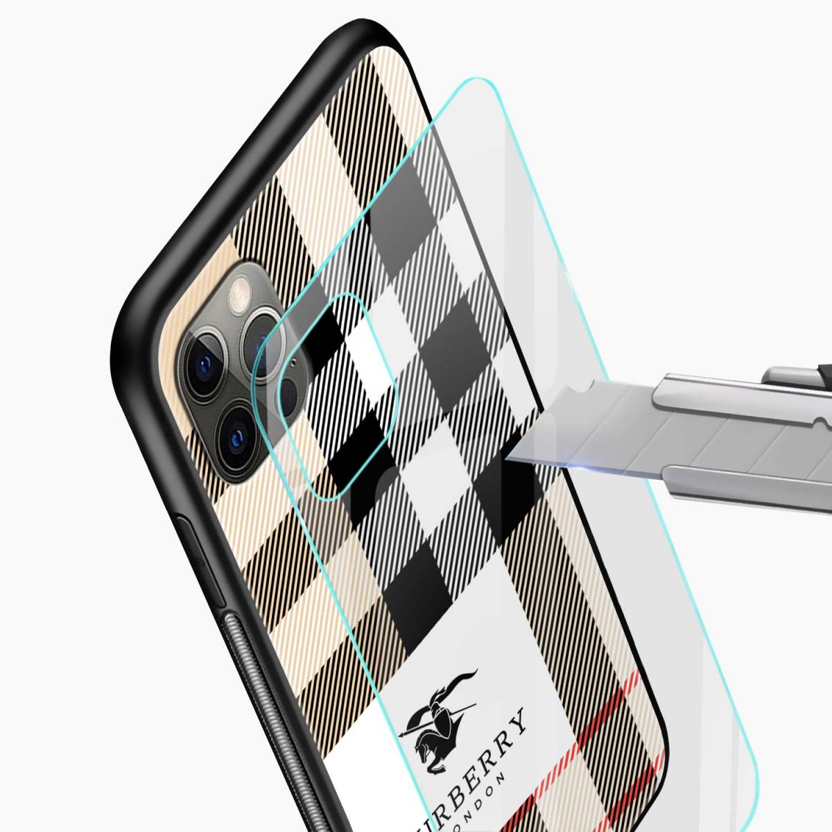bulberry cross lines pattern iphone pro back cover glass view