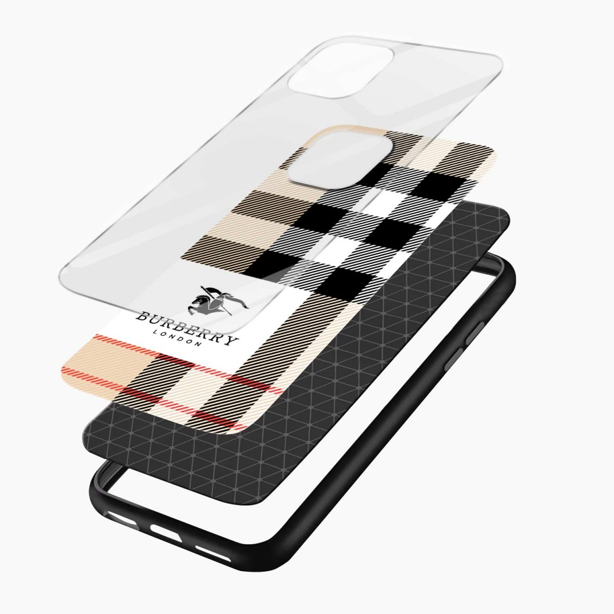 bulberry cross lines pattern iphone pro back cover layers view