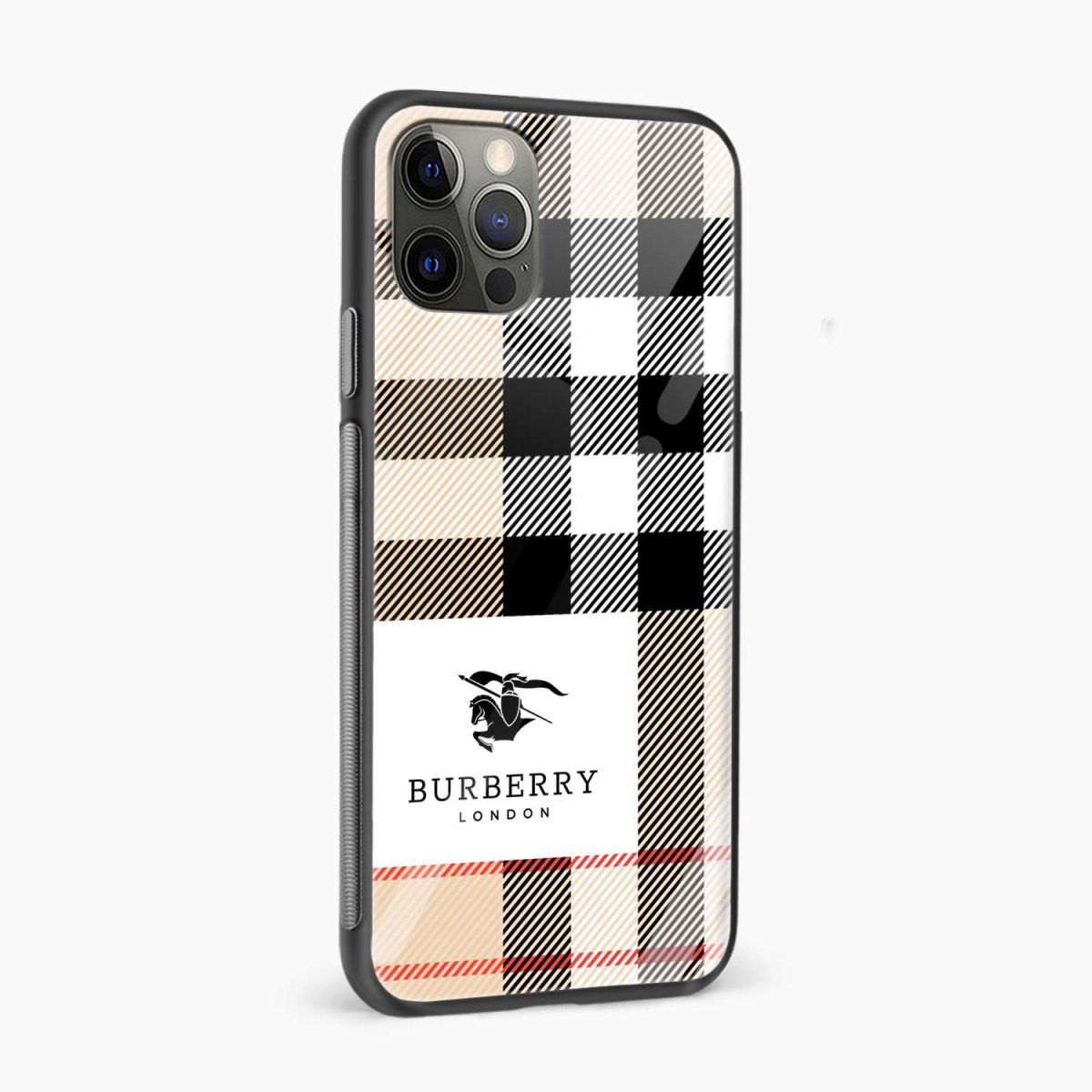 bulberry cross lines pattern iphone pro back cover side view